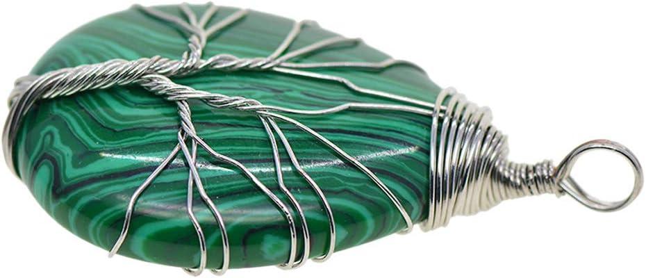 IPOTCH Colgantes de Collares de Piedras Preciosas con Alambres Envueltos Diseño de Árbol de Vida Joyerías Collares Fabricación - Plata de malaquita