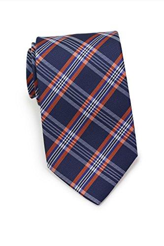 Bows-N-Ties Men's Necktie Modern Plaid Designer Microfiber Tie 3.1 Inches (Navy and - Blue N Orange