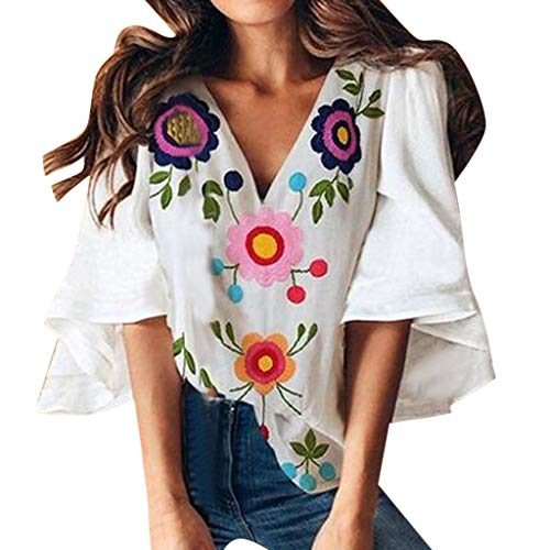 KASAAS Blouses for Women, Floral Print Sexy Deep V-Neck Tops 3/4 Bell Sleeve Summer Fashion Casual Loose Tee Shirts(S,White) ()