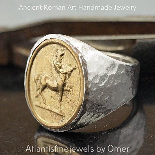 Bold Collection Roman Art Large Centaur Coin Men's Ring 925