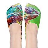 Colorful Chameleon Animal Womens Thin Casual No Show Socks Non Slip Flat Boat Line