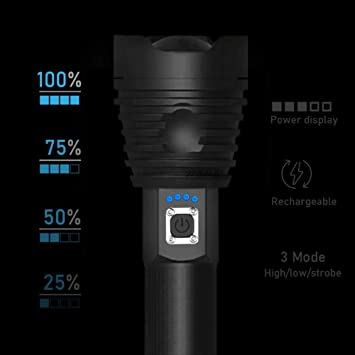 Powerful XHP70//50 LED Aluminum alloy Flashlight Rechargeable 4 Modes Torch 26650