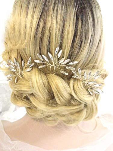 Aegenacess Wedding Hair Pins Rhinestones Crystal Leaf Bridal Hair Pin Clips Combs for Brides and Bridesmaids Gift Women and Girls (Set of 3)(silver)