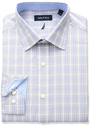 Nautica men 39 s plaid spread collar dress shirt the gift for Mens wide collar dress shirts