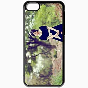 Personalized iPhone 5C Cell phone Case/Cover Skin Asian Light Uniform Brunette Maid Grass Footpath Black