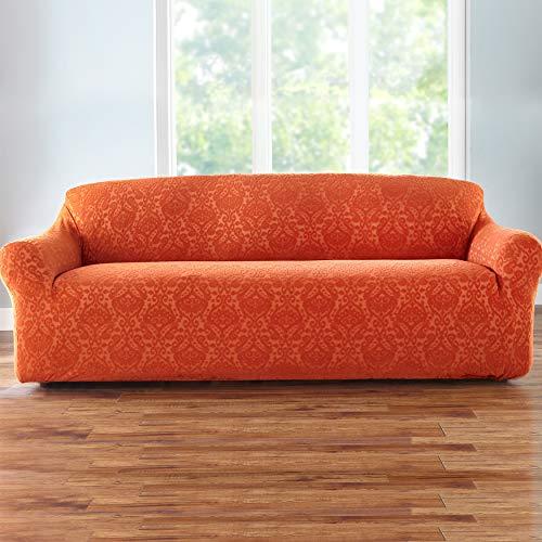 BrylaneHome Bh Studio Ikat Stretch Extra-Long Sofa Slipcover - Cayenne