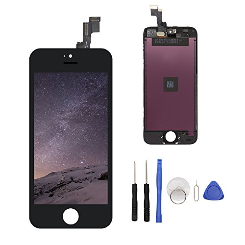 LCD Touch Screen Digitizer Replacement Full Assembly for iPhone 5S with Free Tools Kit (For iPhone 5S Black)