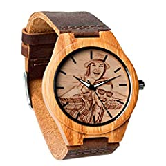 Specifications:   Watch style: Retro, Casual, Fashion   Case shape: Round   Watch Buckle type: Steel Buckle   Hour formats: 12 Hour   Movement: Japanese Import Battery   Watch Case material: Natural Bamboo   Watch Band material: Dermis   Watc...