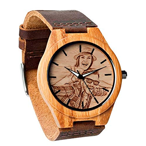 Personalized Customized Wooden Watch with Photo Or Message Double-Side Engraving for Personalized Gift (40MM, Brown) (Photo Watch)
