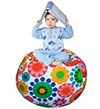 EDCMaker Perfect Storage Organizer for Kids Toy, Quickly Stuffable Storage Anything Soft, Amazing Storage Solution for Durable Beanbags Cover, Sunflower - 38'