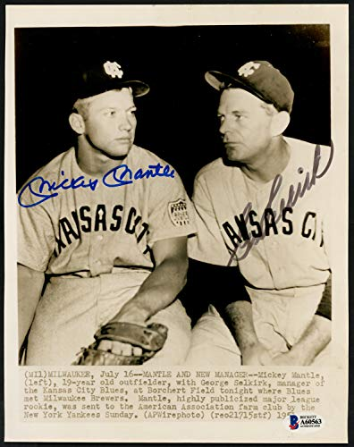 Mickey Mantle & George Selkirk Autographed Signed Memorabilia Associated Press 8x10 Wire Photo Kansas City Blues 1951 Minor League - Beckett Authentic ()