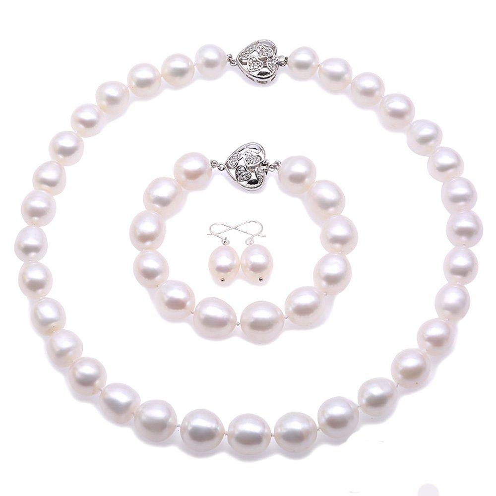 JYX Pearl Necklace Set 11.5-13.5mm White Oval Pearl Necklace Bracelet Earrings Jewelry Set