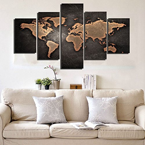 Grey world map wall decor on canvas amazon general world map black background wall art painting pictures print on canvas art the picture for home modern decoration unframed gumiabroncs Images
