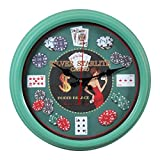 Lingxuinfo Creative Retro Round Wall Clock Household Poker Pattern Iron Hanging Clock - Mint Green