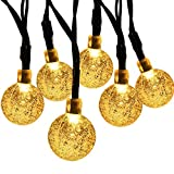 SUPSOO Solar String Light,30 LED 20ft Waterproof Crystal Ball, Outdoor/Indoor Solar Fairy Lights for Garden, Patio, Yard, Christmas, Fence, Xmas Decorations [Energy Class A+++] (Warm White)