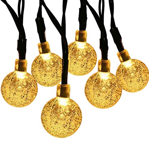 SUPSOO Solar String Light 20ft 30 LED Crystal Ball Waterproof String Lights Solar Powered Lighting for 8 Modes Lighting for Patio,Lawn,Garden,Wedding,Party,Christmas Decorations(Warm White)