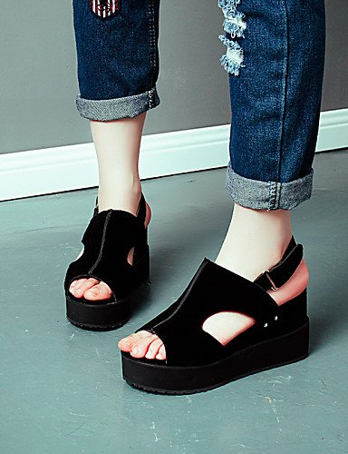 LFNLYX Zapatos de mujer-Tacón Cuña-Cuñas / Punta Abierta / Plataforma / Talón Descubierto-Sandalias-Exterior / Vestido / Casual-PU-Negro / Gris almond