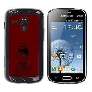 Ihec Tech Chica sombrero de moda Profundo Castaño Sangre / Funda Case back Cover guard / for Samsung Galaxy S Duos S7562