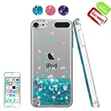 iPod Touch 6 Case, iPod Touch 5 Case with HD Screen Protector for Girls,Atump[Love Heart Series] Liquid Glitter Bling Sparkly TPU Clear Phone Cover for Apple iPod Touch 6th / 5th Generation Blue
