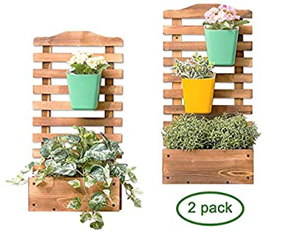 Wooden Fence Carbonized Wall Mounted Hanging Plant Flower Pot Stand Holder Rack Display Shelf 2-Pack