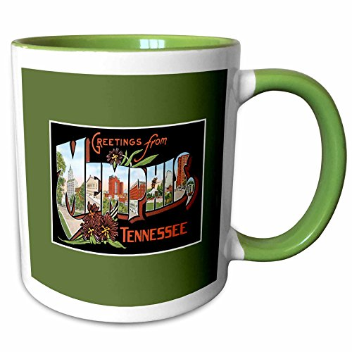3dRose 170624_7 Greetings from Memphis Tennessee Scenic Postcard R Ceramic Mug, - Memphis Outlets