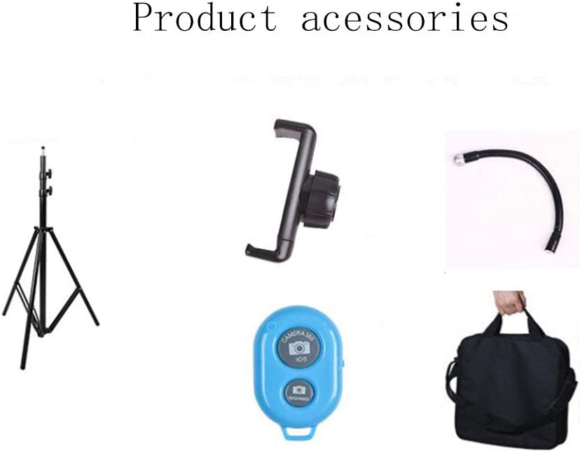 self portrait with bracket Peaceip US Ring light 13in external 45W-5500K dimmable LED ring lighting kit for YouTube remote control phone clip carrying case