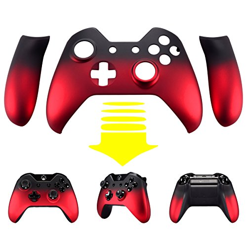eXtremeRate Red Shadow Soft Touch Front Housing Shell Faceplate Replacement Parts Side Rails Panel for Xbox One Controller W/3.5 (Red Front Housing)