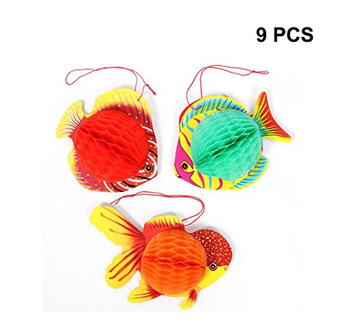 Sc0nni 9PCS Waterproof Classic Designs Paper Fish,Tissue Fish Decorations/Paper lantern Fish Party Decoration With Hanging rope- Party Supplies And Festive Atmosphere.(Red And Blue)