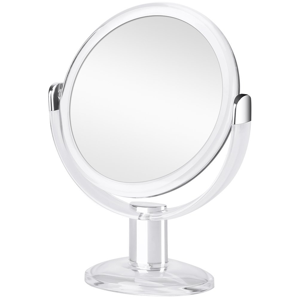 Orange Tech 1X & 10X Double Sided Magnified Makeup Mirror, Magnifying Vanity Mirror with 360 Degree Rotation for Bathroom or Bedroom Table Top