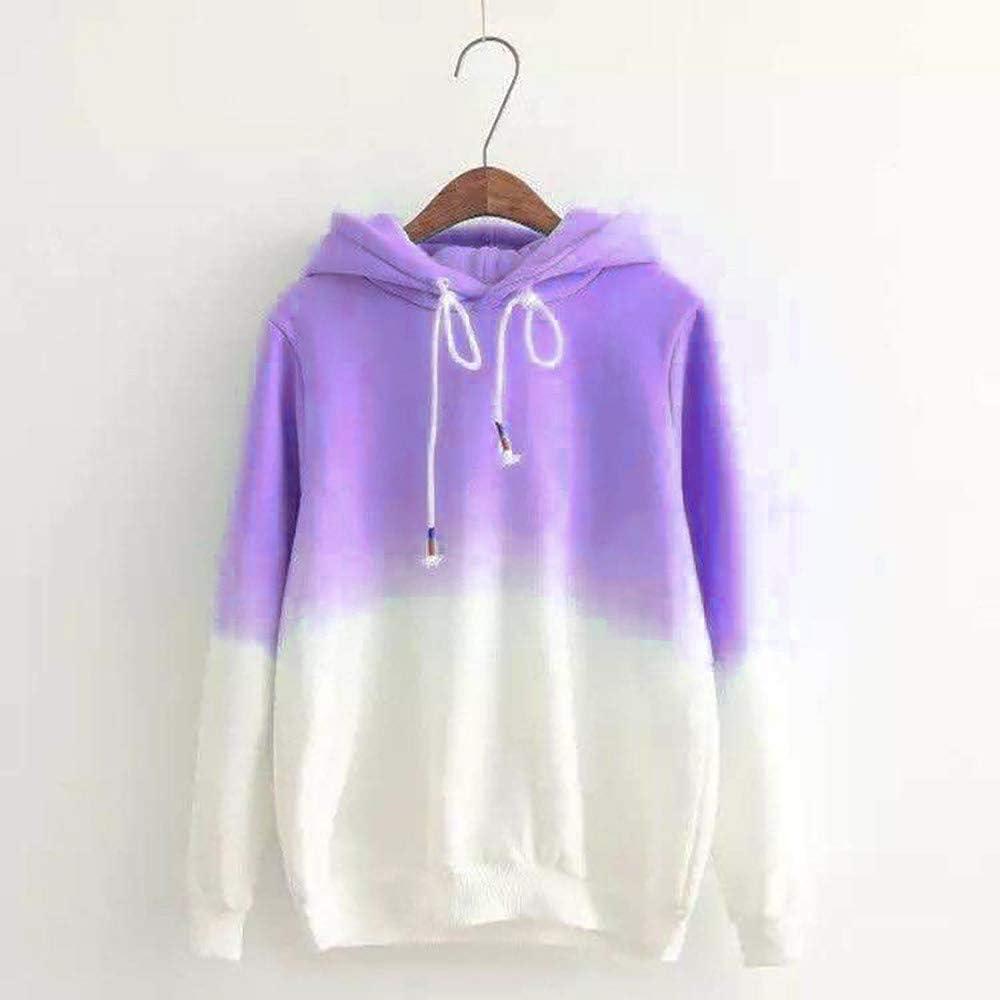SSZZoo Womens Casual Autumn Long Sleeve Hooded Gradient Print Sweatshirt