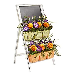 Nearly Natural 1753 31-in Roses & Morning Glory Artificial Farmhouse Stand with Chalkboard Silk Arrangements, Orange/Purple 101