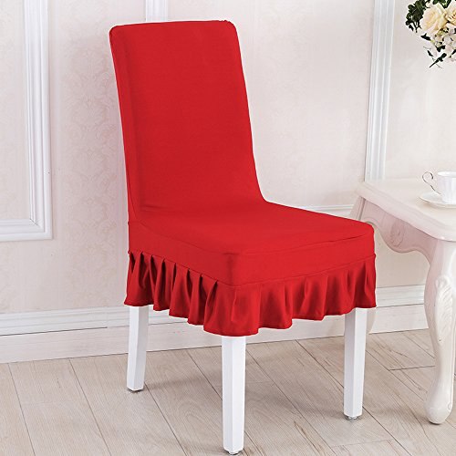 Awland Dining Chair Cover Slipcovers Seat Protector Short Stretch Spandex Dining Room Banquet Chair Seat Cover for Kitchen Wedding Bar Hotel Party Home (Set of 4) - Red (Set Dining Banquet)