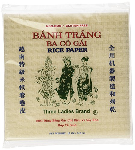 - Three Ladies Spring Roll Rice Paper Wrappers (Square 22cm)