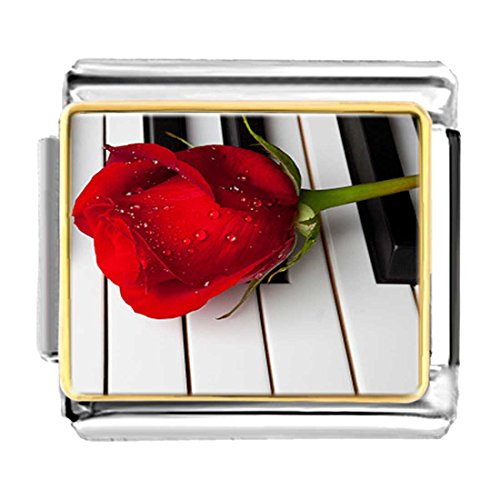 Red Rose Italian Charm Bracelet - GiftJewelryShop Gold Plated Piano Red Rose for Valentine Bracelet Link Photo Italian Charms