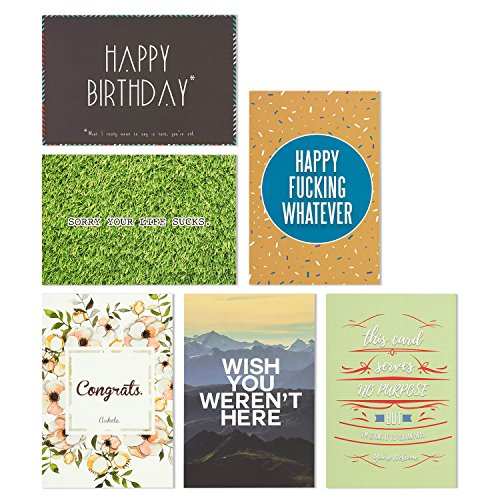 36 Pack Offensive Funny Rude All Occasion & Happy Birthday Greeting Cards, 6 Handwritten Modern Artistic Style Colorful Designs, Bulk Box Set Variety Assortment, Envelopes Included 4 x 6 Inches Photo #2
