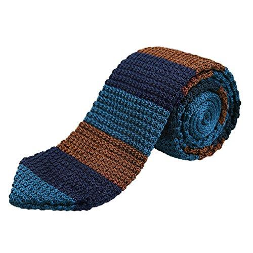 Men's Knitted Tie Necktie Stripe Pattern Casual 2.75 inches Necktie, Navy+Brown