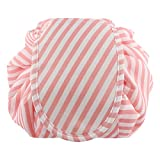 Lazy Portable Makeup Bag Large Capacity Waterproof Travel Cosmetic Bag Quick Easy Pack Round Travel Toiletry Bag Perfect for Storage Pretty Fashion Pattern Drawstring Bag (Pink stripe)