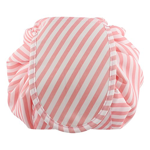 Lazy Portable Makeup Bag Large Capacity Waterproof Travel Cosmetic Bag Quick Easy Pack Round Travel Toiletry Bag Perfect for Storage Pretty Fashion Pattern Drawstring Bag (Pink stripe) by Edapter (Image #7)