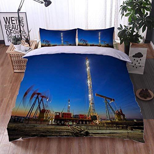 - VROSELV-HOME 3 PCS King Size Comforter Set,Oilfield Derrick,Soft,Breathable,Hypoallergenic,with 1 Pillowcase for Kids Bedding