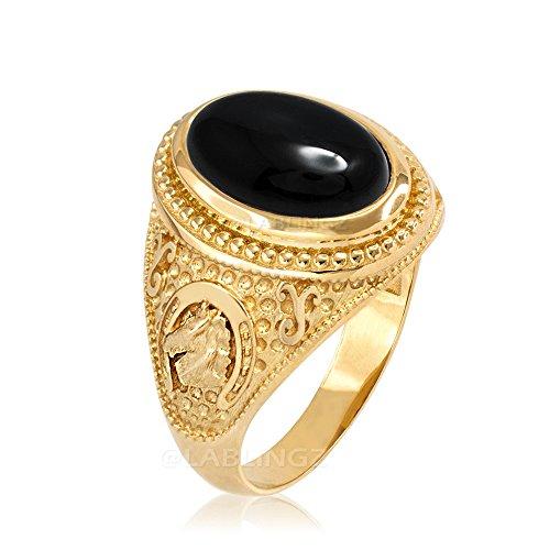 10K Yellow Gold Lucky Horseshoe Black Onyx Gemstone Ring (15)