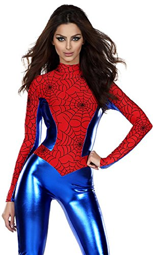 Kyson Women Sexy Blue Red Spider Outfit Halloween Costume Fancy Dress Long Sleeves XL Suitable for US size 12-16