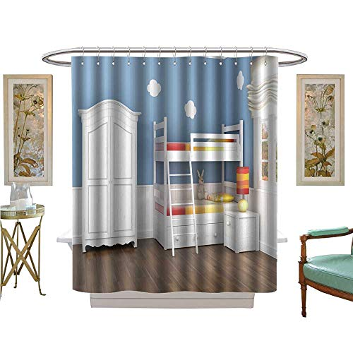 luvoluxhome Shower Curtains Mildew Resistant Children s Bedroom in Blue Walls with bunk Bed and Wardrobe Bathroom Set with Hooks W72 x ()