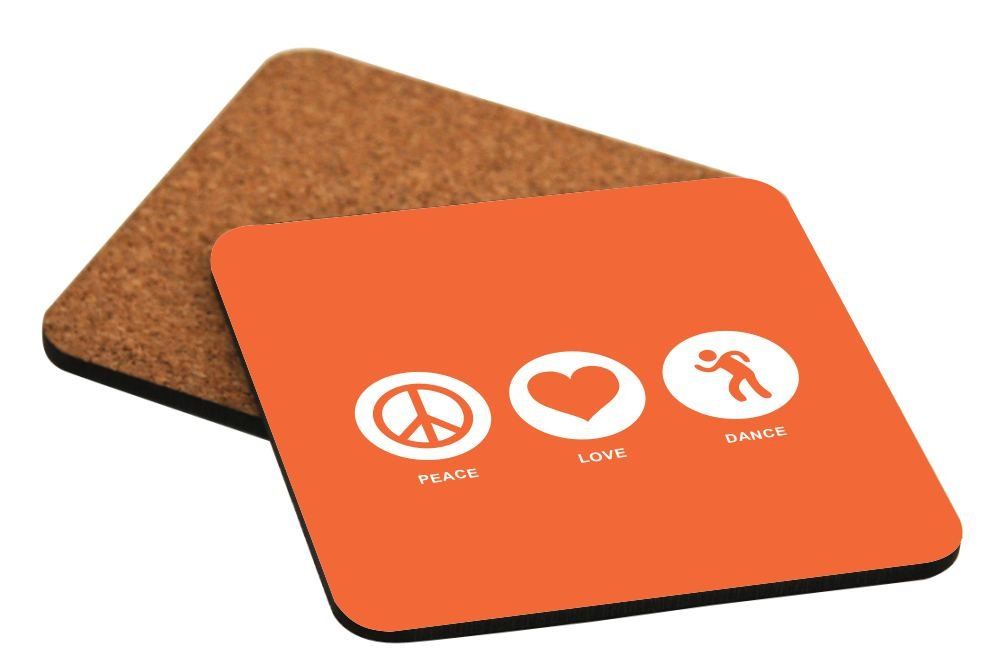 Rikki Knight Peace Love Dance Orange Color Design Cork Backed Hard Square Beer Coasters, 4-Inch, Brown, 2-Pack