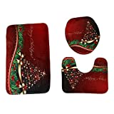 3pcs/Set Merry Christmas Bathroom Mats,WM&MW Print Pedestal Rug + Lid Toilet Cover + Bath Mat (G)