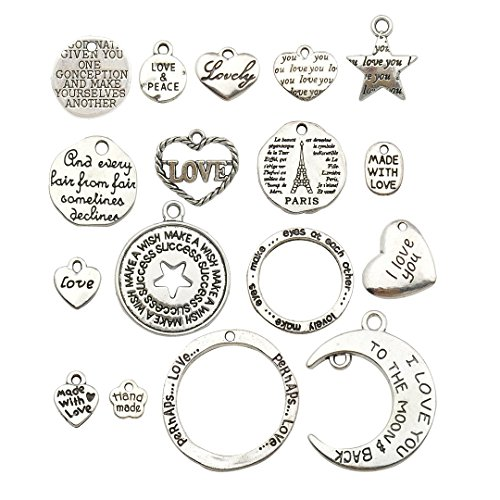 Words Charm Collection-100g Craft Supplies Heart Moon Love Words Charms Pendants for Crafting, Jewelry Findings Making Accessory for DIY Necklace Bracelet Earrings ()