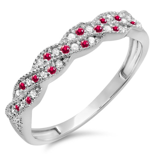 Dazzlingrock Collection 14k Round Ruby & White Diamond Ladies Anniversary Wedding Stackable Swirl Ring, White Gold, Size 6.5 ()