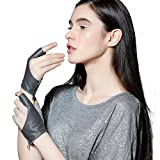 Fioretto Womens Gifts Original Design Cool Womens Leather Gloves Fingerless Italian Genuine Leather Half Finger Outdoor Motorcycle Gloves for Driving Gray M