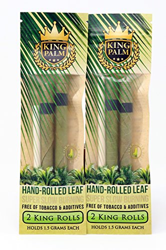 Palm Pre Accessory - King Palms King Size Natural Slow Burning Pre-Rolled Palm Leafs with Filter Tip (2 Pack, 4 Wraps)