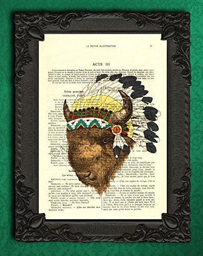 Bison art, buffalo indian headdress decor, native american artwork dictionary print