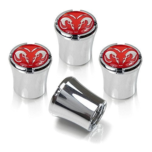 CzlpV 4 Pcs Red Logo Tire Valve Stem Caps For Dodge ()